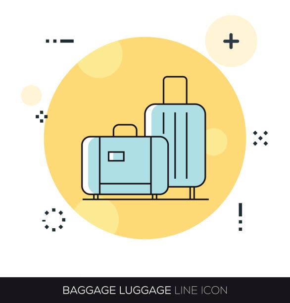 BAGGAGE LUGGAGE LINE ICON BAGGAGE LUGGAGE LINE ICON airport symbols stock illustrations
