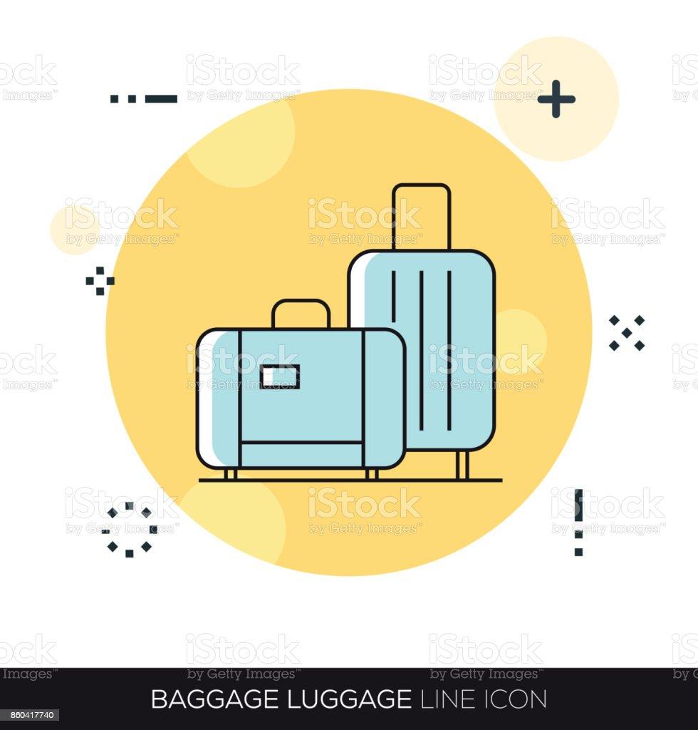 BAGGAGE LUGGAGE LINE ICON vector art illustration