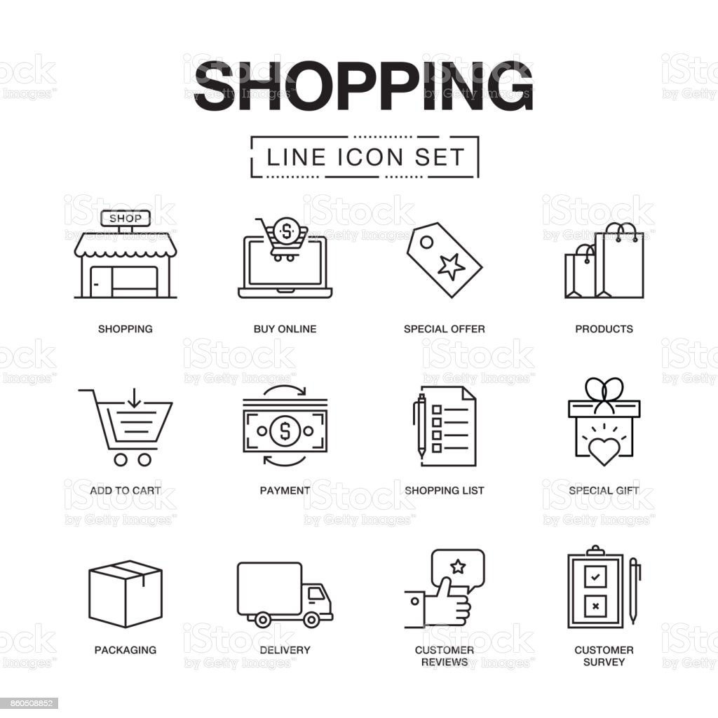 SHOPPING LINE ICONS SET vector art illustration