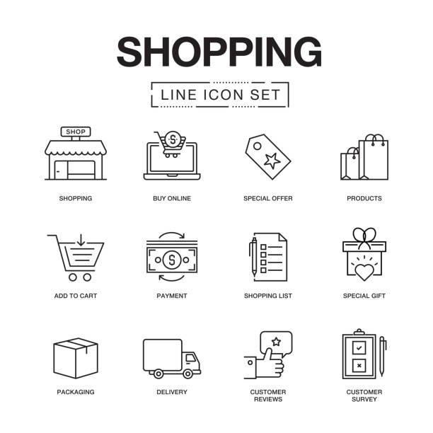 shopping line icons set - e commerce stock illustrations, clip art, cartoons, & icons