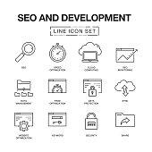 SEO AND DEVELOPMENT LINE ICONS SET