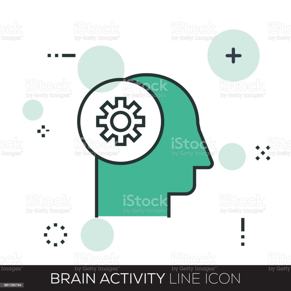 BRAIN ACTIVITY LINE ICON vector art illustration