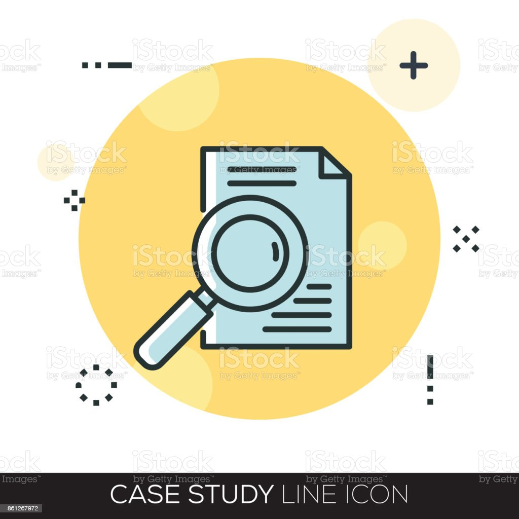 CASE STUDY LINE ICON vector art illustration