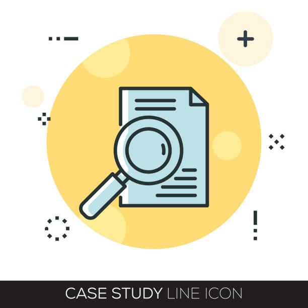 ilustraciones, imágenes clip art, dibujos animados e iconos de stock de icono de la línea de estudio de caso - estudiar