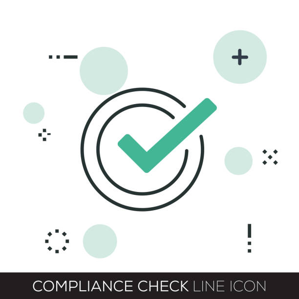 compliance check line icon - naśladownictwo stock illustrations