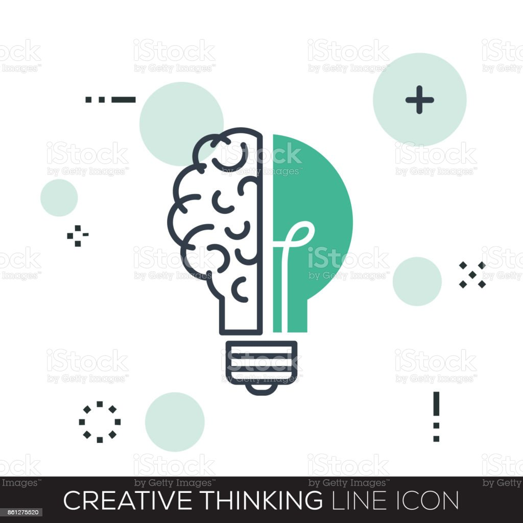 CREATIVE THINKING LINE ICON vector art illustration