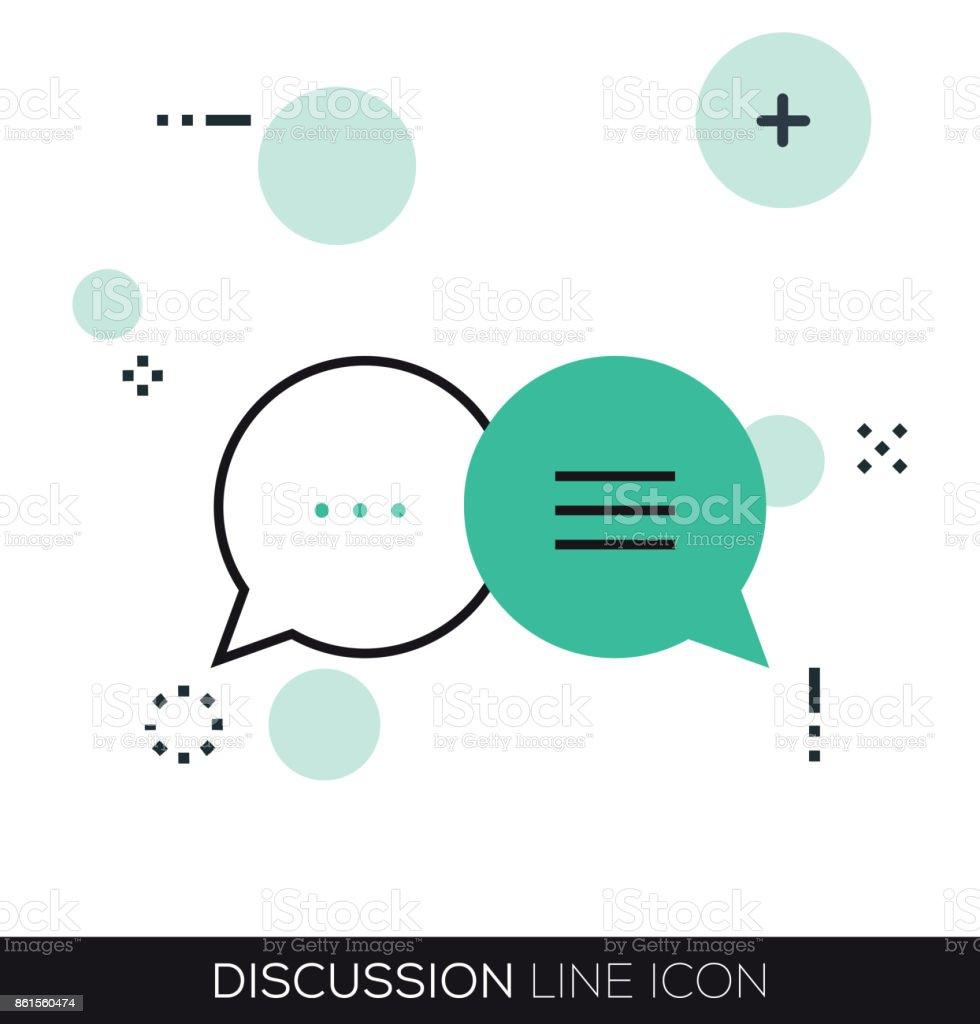DISCUSSION LINE ICON vector art illustration