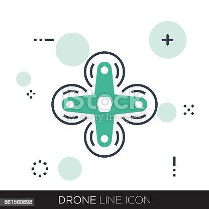 istock DRONE LINE ICON 861560898