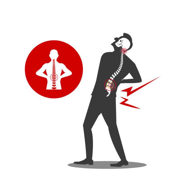 579 Illustration of businessman Musculotendinous Strain Back Ache or Lumbar Pain. backache stock illustrations