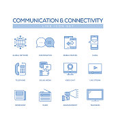 COMMUNICATION AND CONNECTIVITY LINE ICONS SET