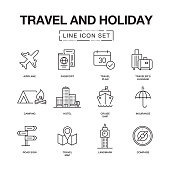 TRAVEL AND HOLIDAY LINE ICONS SET