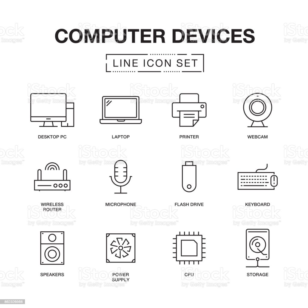 COMPUTER DEVICES LINE ICONS SET vector art illustration