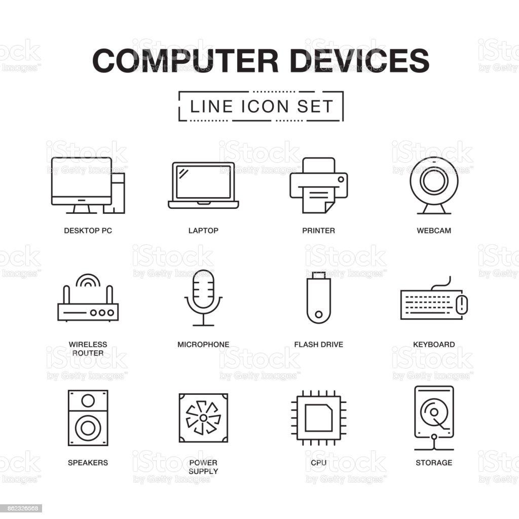 COMPUTER DEVICES LINE ICONS SET - illustrazione arte vettoriale