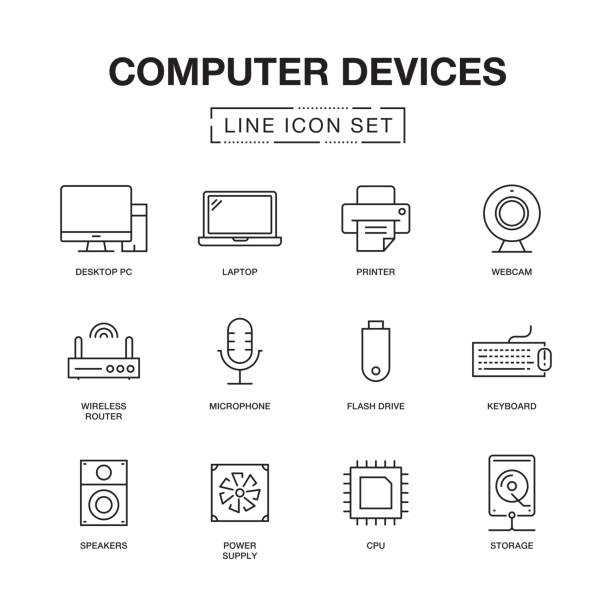 computer devices line icons set - computer stock illustrations