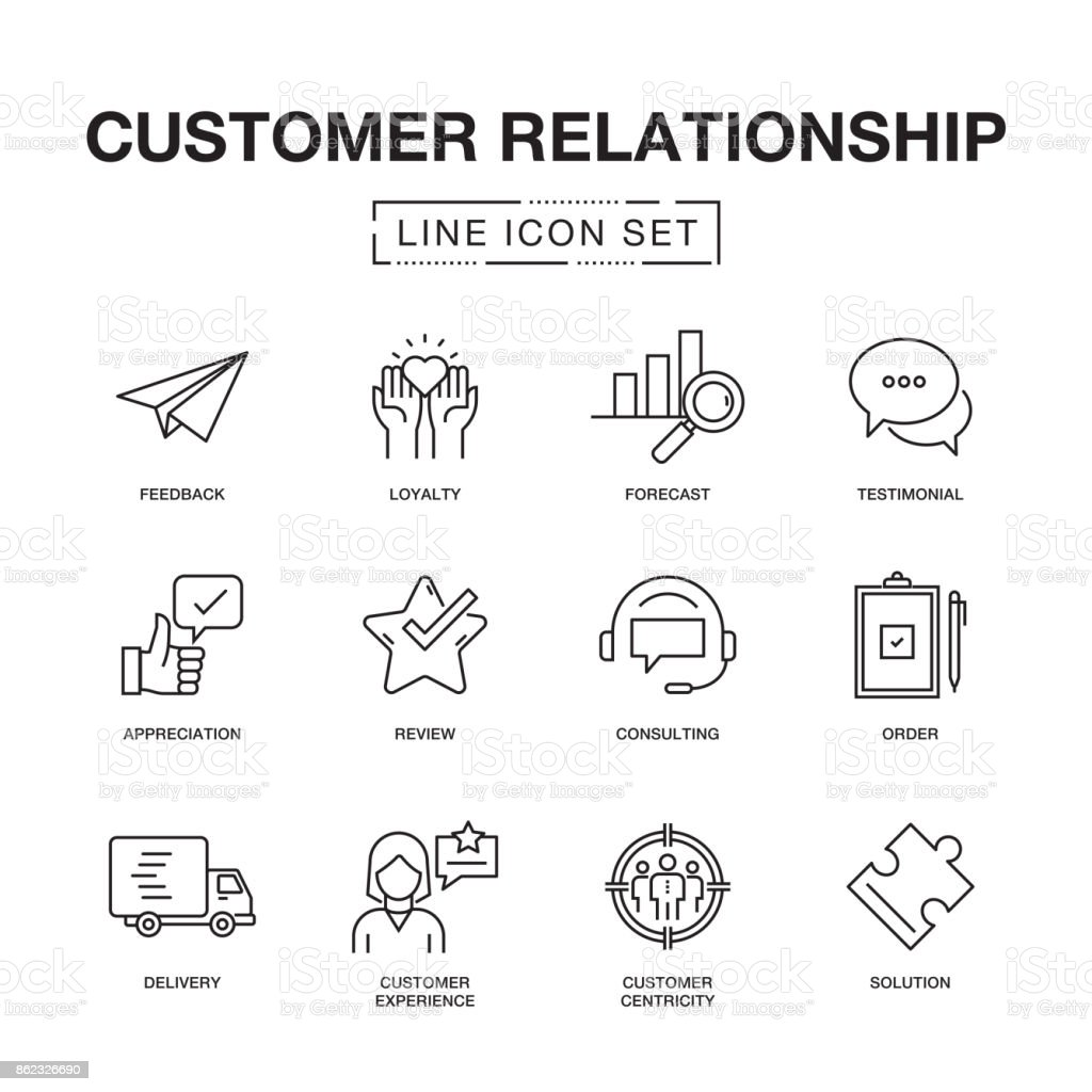 CUSTOMER RELATIONSHIP LINE ICONS SET vector art illustration