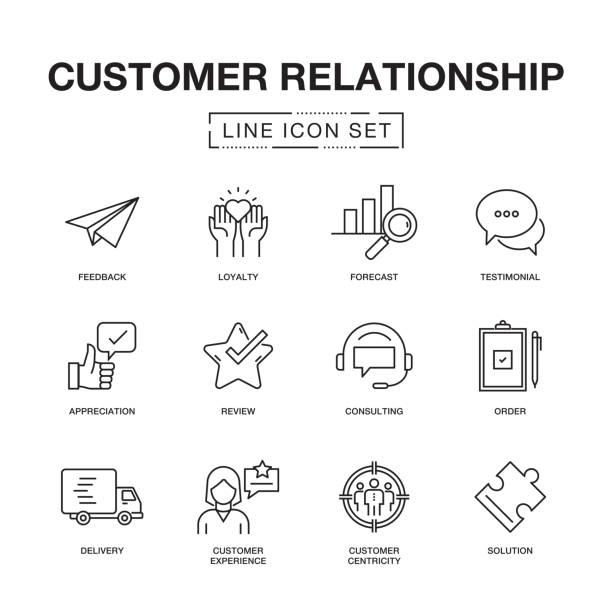 顧客リレーションシップ ラインのアイコン セット - 科学研究点のイラスト素材/クリップアート素材/マンガ素材/アイコン素材