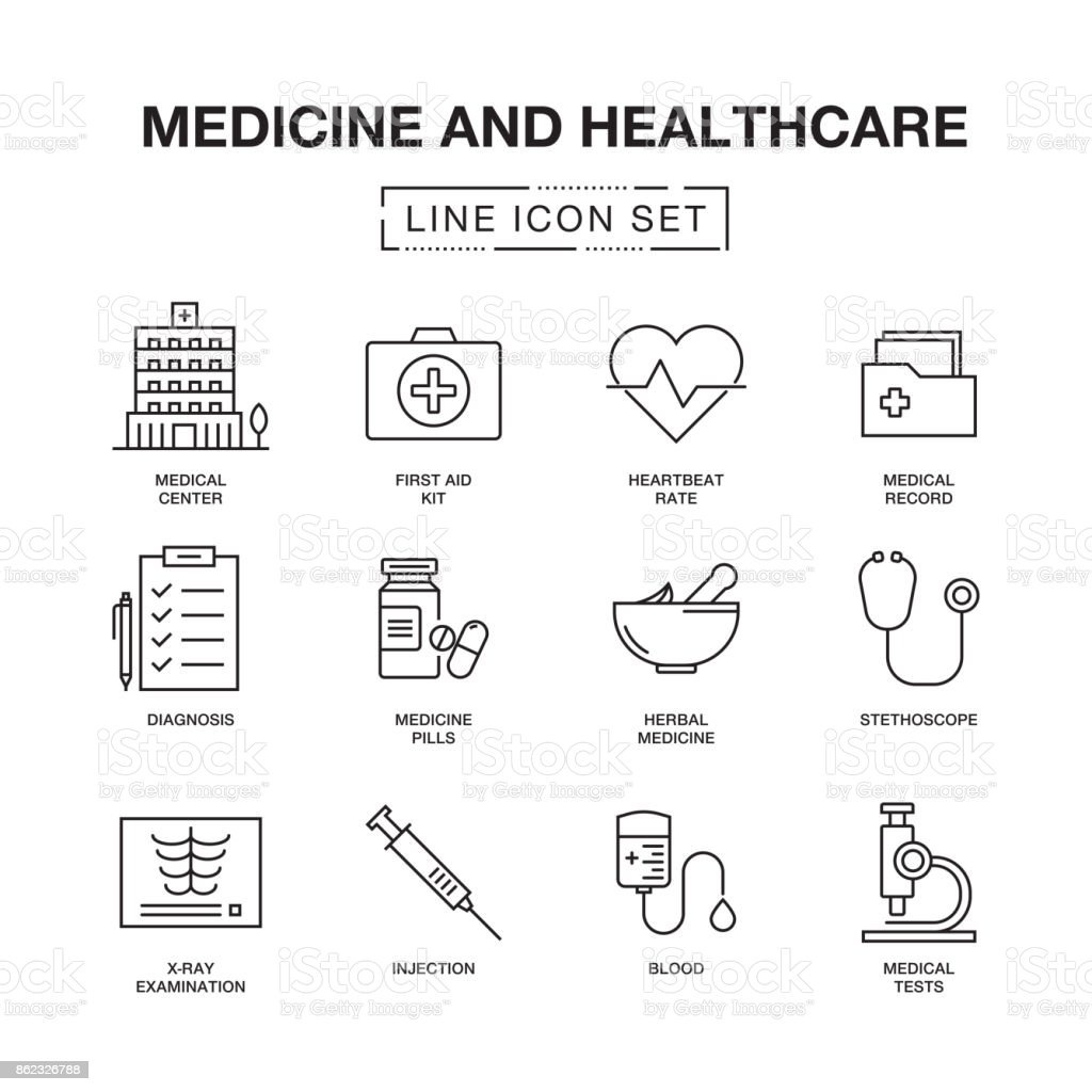 MEDICINE AND HEALTHCARE LINE ICONS SET vector art illustration