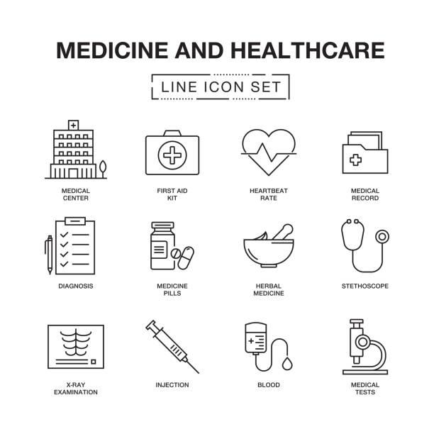 医学と医療の線のアイコン セット - 病院点のイラスト素材/クリップアート素材/マンガ素材/アイコン素材