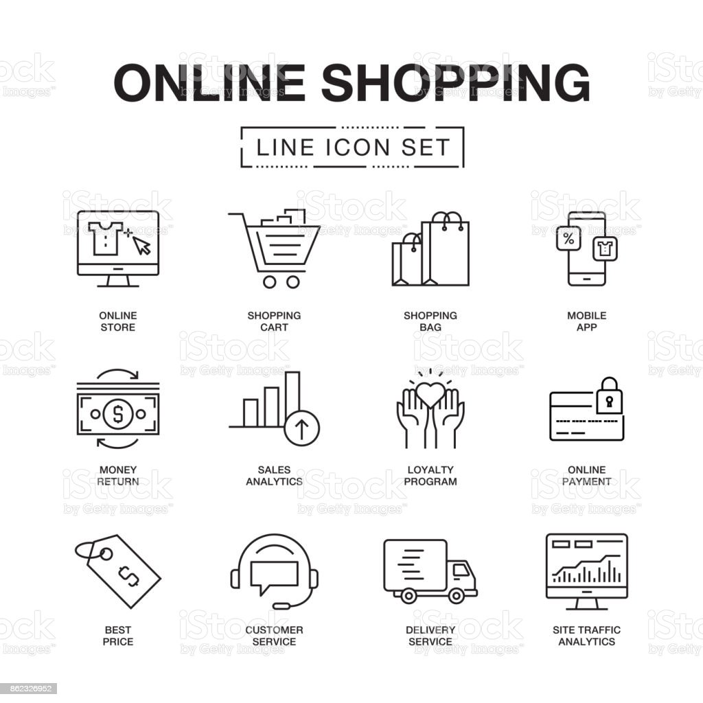 ONLINE SHOPPING LINE ICONS SET vector art illustration