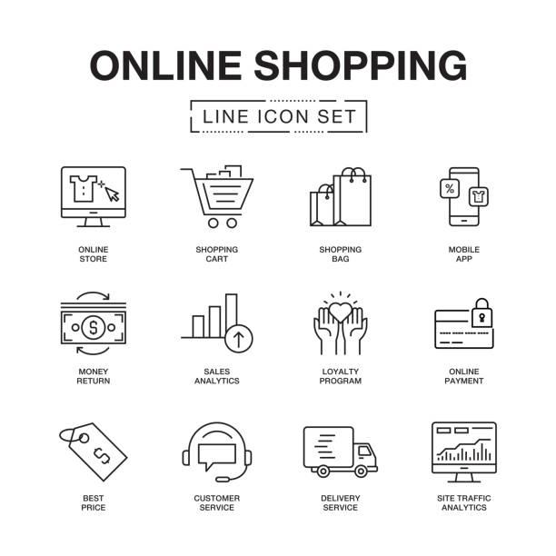 stockillustraties, clipart, cartoons en iconen met online winkelen lijn icons set - webshop