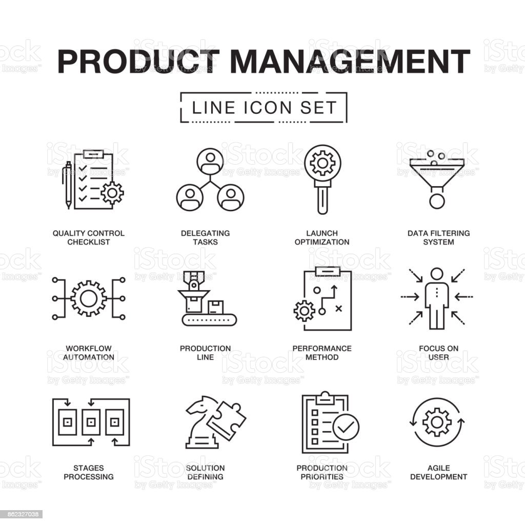 PRODUCT MANAGEMENT LINE ICONS SET vector art illustration