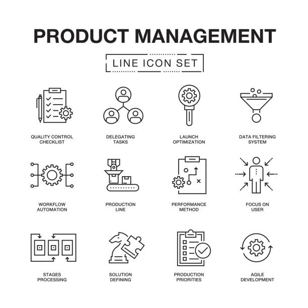 produkt management linie icons set - bewegung stock-grafiken, -clipart, -cartoons und -symbole