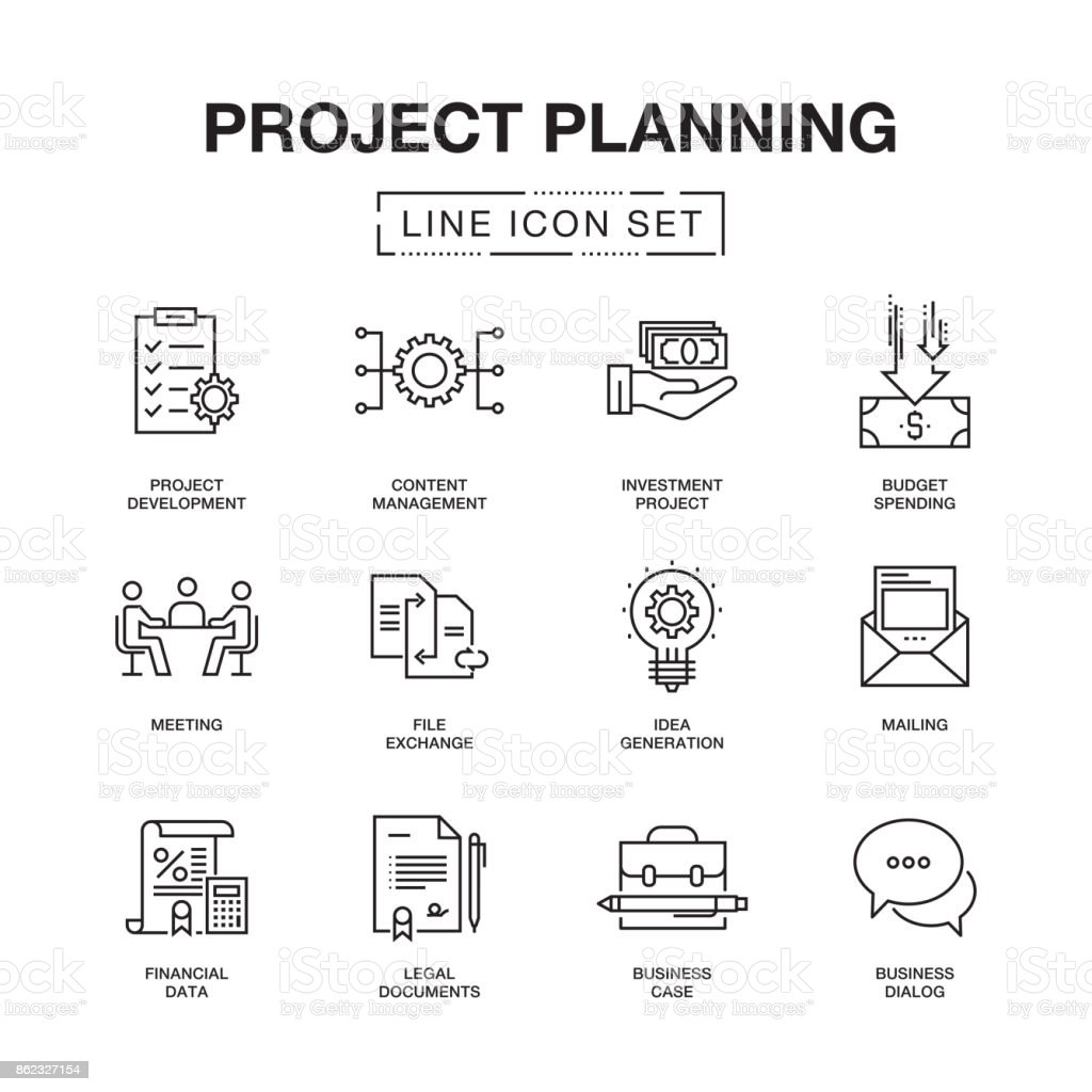 PROJECT PLANNING LINE ICONS SET vector art illustration