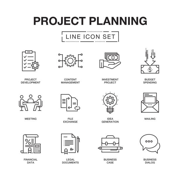 project planning line icons set - architect stock illustrations, clip art, cartoons, & icons