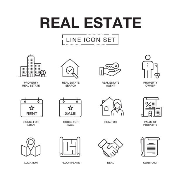 real estate line icons set - architecture symbols stock illustrations