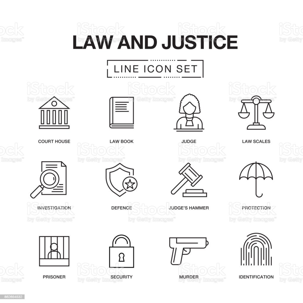 LAW AND JUSTICE LINE ICONS SET - illustrazione arte vettoriale