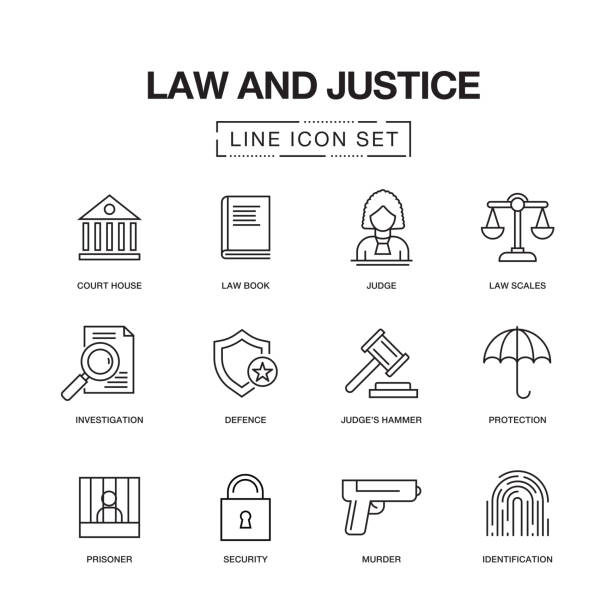 LAW AND JUSTICE LINE ICONS SET LAW AND JUSTICE LINE ICONS SET courthouse stock illustrations