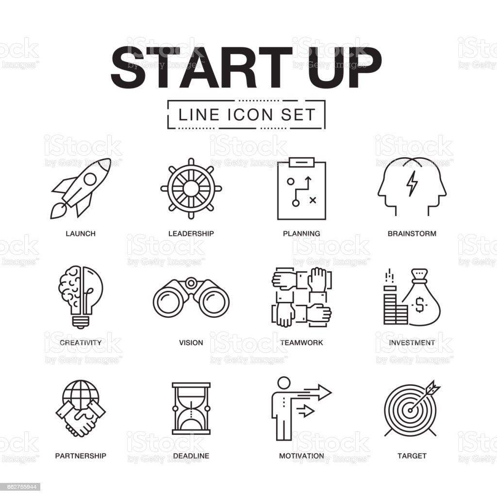 START UP LINE ICONS SET vector art illustration