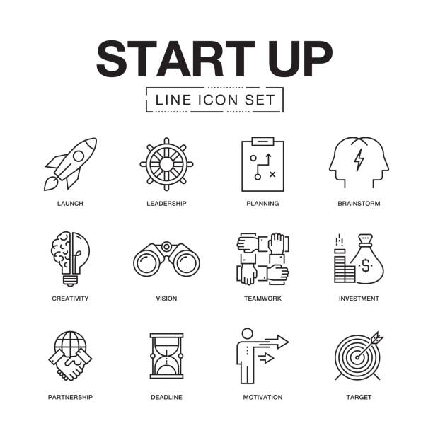 inbetriebnahme der linie icons set - anfang stock-grafiken, -clipart, -cartoons und -symbole
