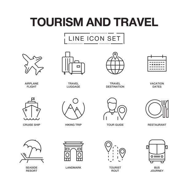 TOURISM AND TRAVEL LINE ICONS SET vector art illustration