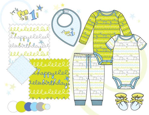 baby_toddler_boy_bodysuit_outfit_illustration_birthday_squiggle_pattern - bodysuit stock-grafiken, -clipart, -cartoons und -symbole