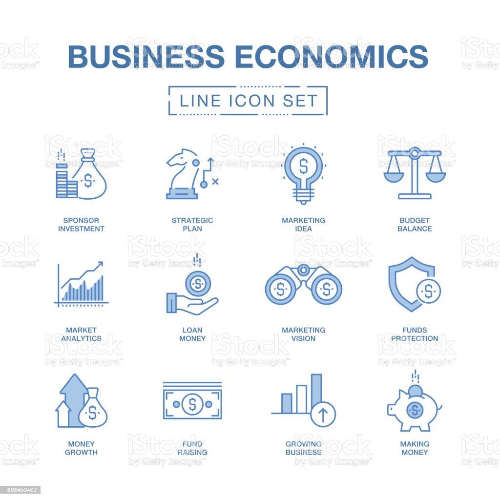 BUSINESS ECONOMICS LINE ICONS SET