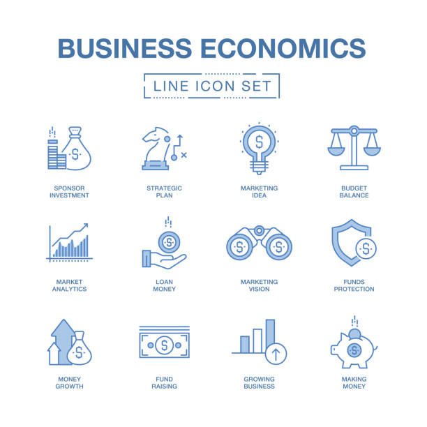 BUSINESS ECONOMICS LINE ICONS SET vector art illustration