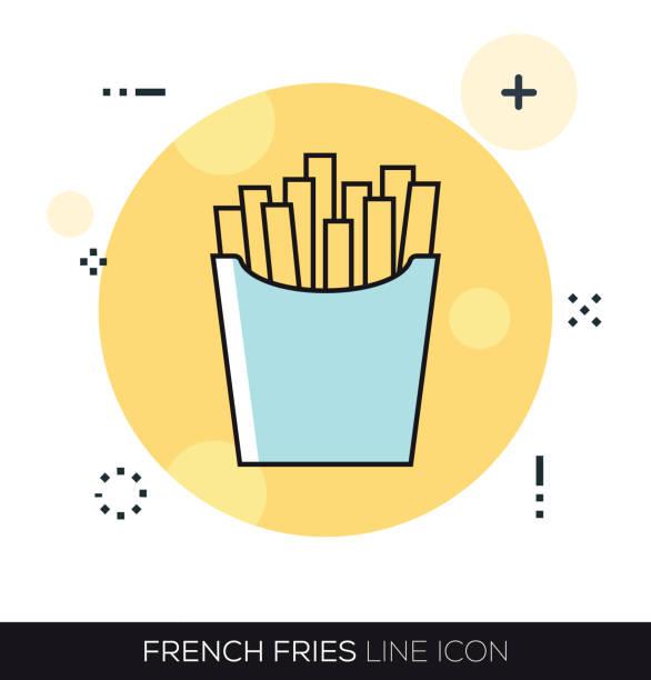 stockillustraties, clipart, cartoons en iconen met pictogram van de lijn van de franse frietjes - chicken bird in box
