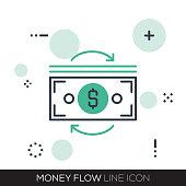 MONEY FLOW LINE ICON
