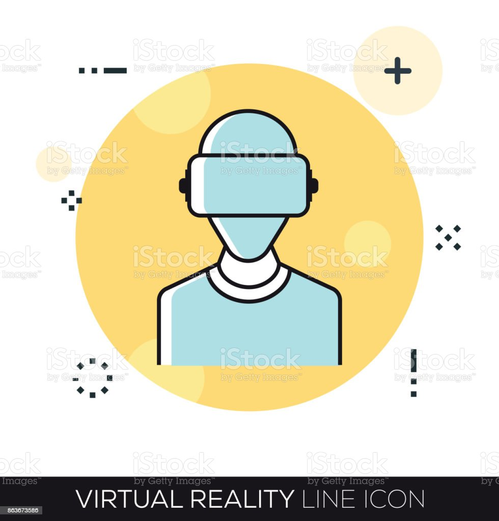 VIRTUAL REALITY LINE ICON vector art illustration