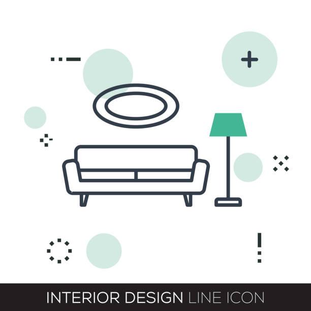 インテリア デザイン線アイコン - ソファ点のイラスト素材/クリップアート素材/マンガ素材/アイコン素材