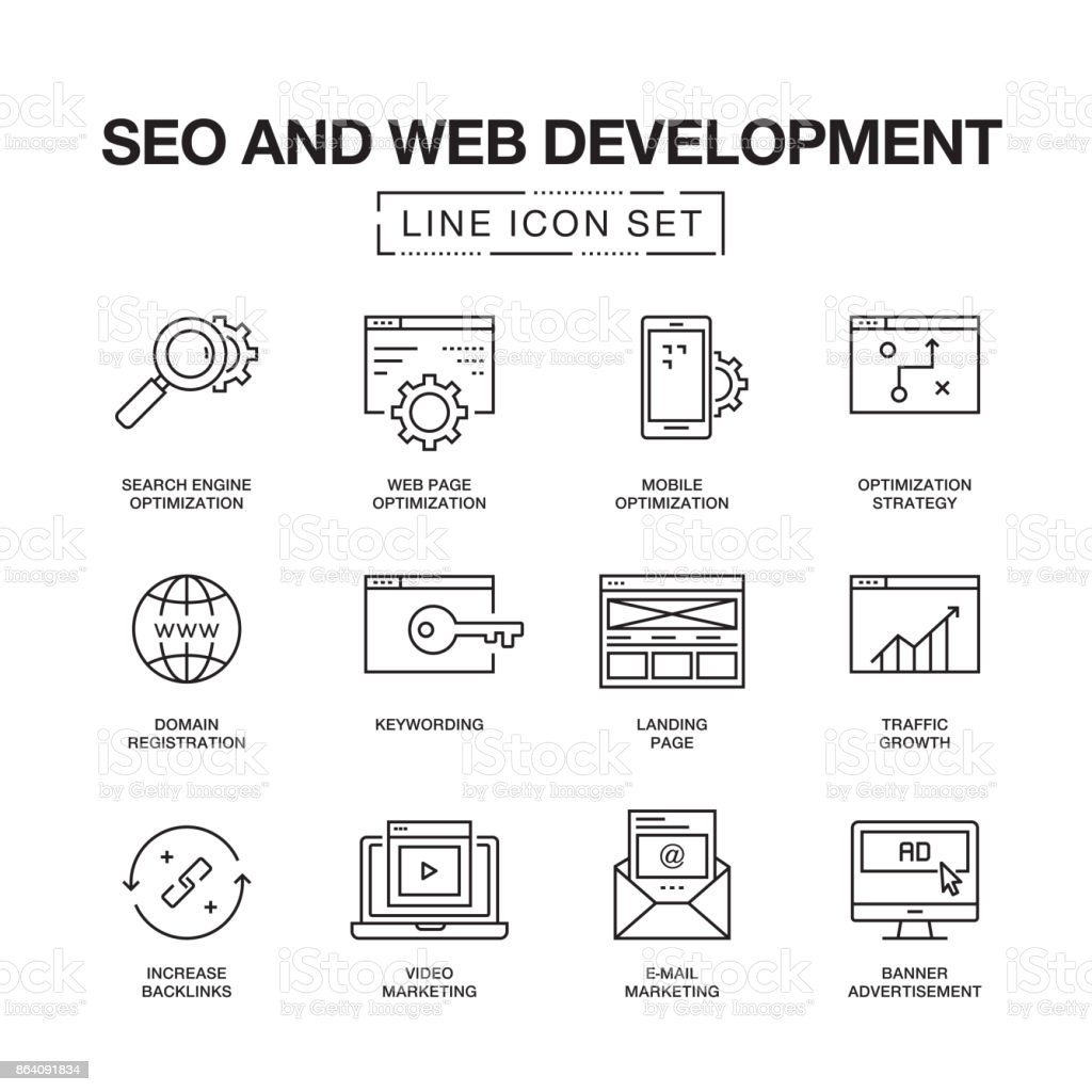 SEO AND WEB DEVELOPMENT LINE ICONS royalty-free seo and web development line icons stock vector art & more images of abstract