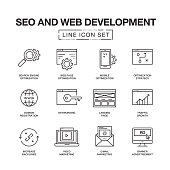 SEO AND WEB DEVELOPMENT LINE ICONS