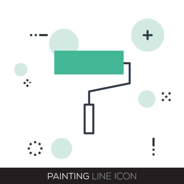 malerei-line-symbol - hausfarbpaletten stock-grafiken, -clipart, -cartoons und -symbole