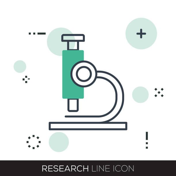 ilustraciones, imágenes clip art, dibujos animados e iconos de stock de icono de la línea de investigación - logotipos de investigación