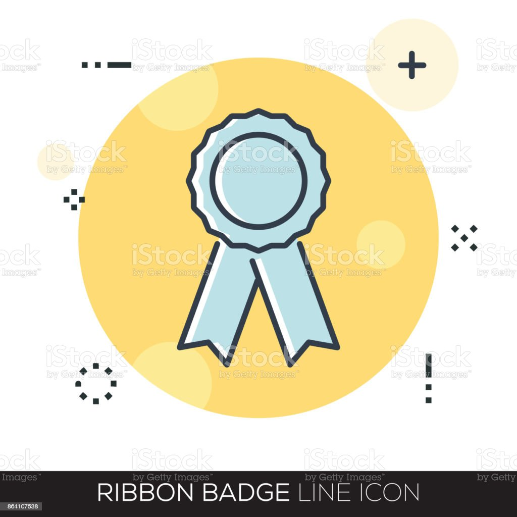 RIBBON BADGE LINE ICON royalty-free ribbon badge line icon stock vector art & more images of arts culture and entertainment