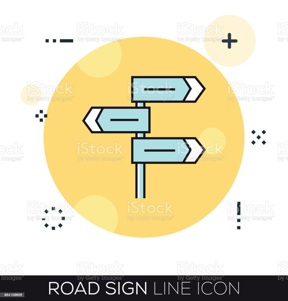 ROAD SIGN LINE ICON royalty-free road sign line icon stock vector art & more images of arrow symbol