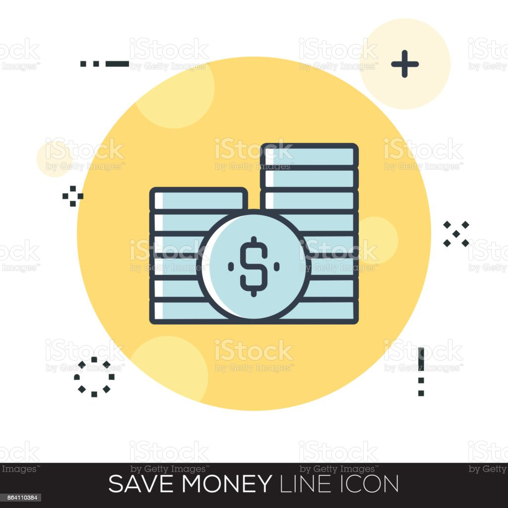 SAVE MONEY LINE ICON royalty-free save money line icon stock vector art & more images of bank