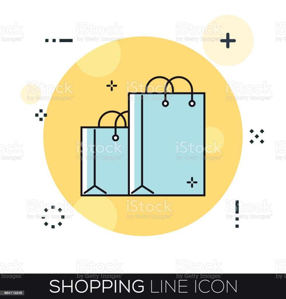 SHOPPING LINE ICON royalty-free shopping line icon stock vector art & more images of abstract