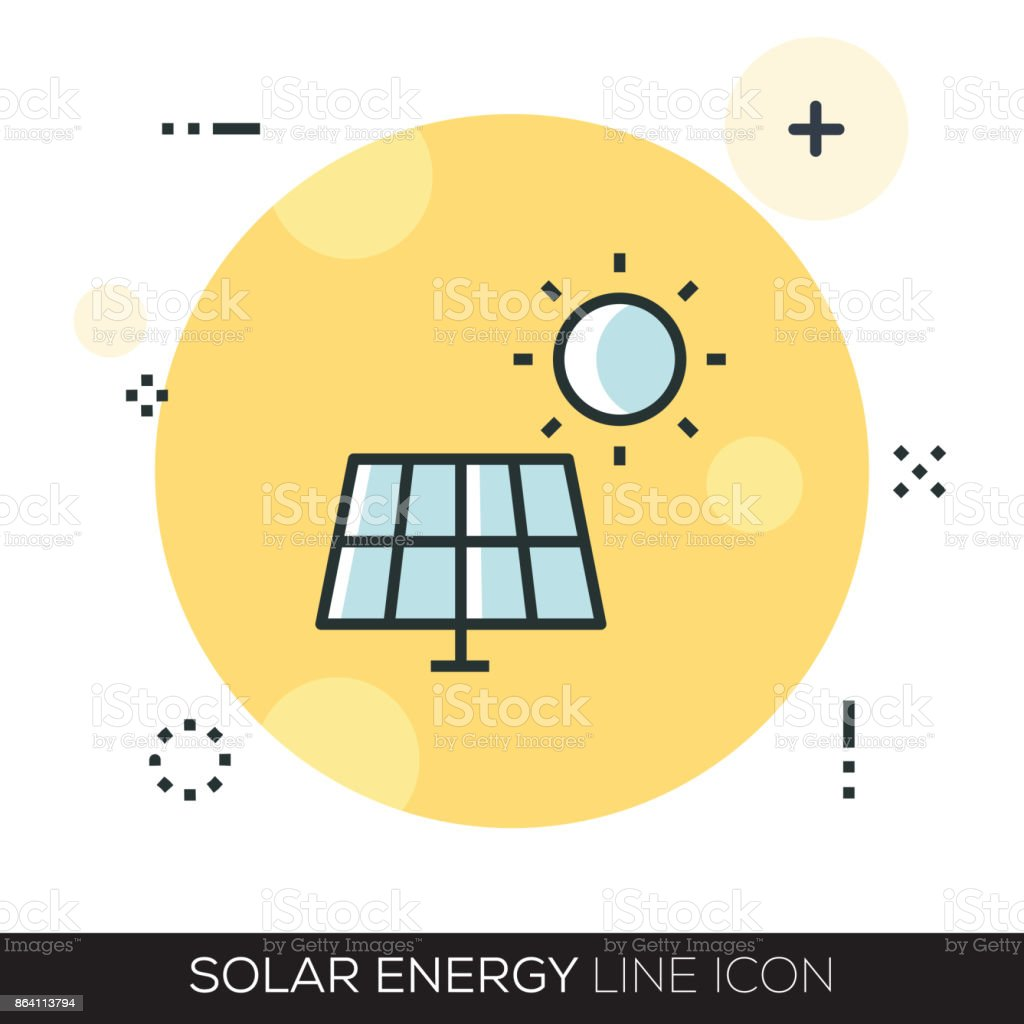 SOLAR ENERGY LINE ICON royalty-free solar energy line icon stock vector art & more images of battery